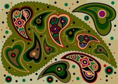 Stock Illustration of Colored oriental paisley on light green background.
