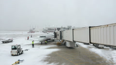 Dallas Fort Worth DFW airport during snow Stock Footage
