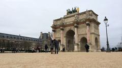 Stock Video Footage of Arc de Triomphe du Carrousel in Paris