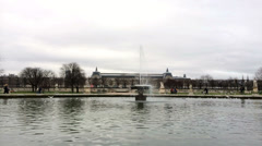 Grand Bassin Rond at Park near Louvre Stock Footage