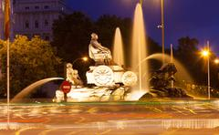 Cibeles Fountain at Plaza de Cibeles in  evening - stock photo
