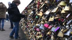 Locks of love in Paris France Stock Footage