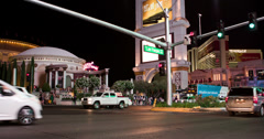 Las Vegas Blvd intersection in front of Caesars Palace 4k Stock Footage