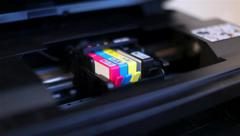Printer cartridge rides out after lid being opened Stock Footage