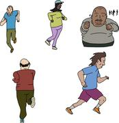 Group of Mature Runners - stock illustration