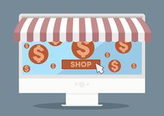 Flat pc shopping Stock Illustration