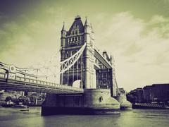 Vintage sepia Tower Bridge, London - stock photo