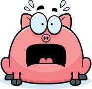 Terrified little pig Stock Illustration