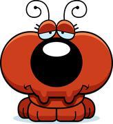 cartoon sad ant - stock illustration