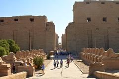 Stock Photo of alley of ram-headed sphinxes in front of karnak temple, egypt