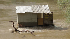Flooded old wooden hut. Ruined cottage after big floods. Environmental disaster. Stock Footage