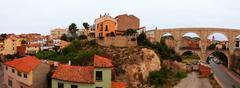 Panoramic view of Teruel with Los Arcos aqueduct Stock Photos