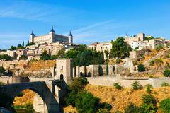 View of Toledo with Puente de Alcantara Stock Photos