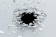 breaking brick wall - stock illustration