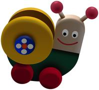 Colored spiral worm toy on wheels Stock Illustration