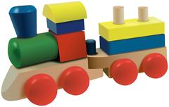 Colored wooden cubes locomotive toy with wagon - stock illustration