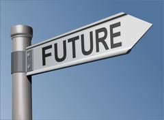 Stock Illustration of Guidepost with the word Future