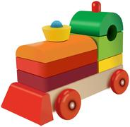 Wooden cubes colored locomotive toy Stock Illustration