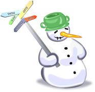 Snowman with five ways guidepost Stock Illustration