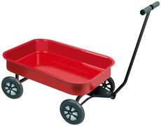 Small red four wheels handcart Stock Illustration