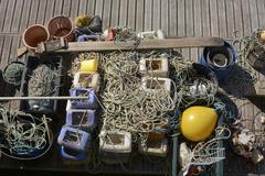 Commercial fishing equipment. Brighton Marina. England Stock Photos