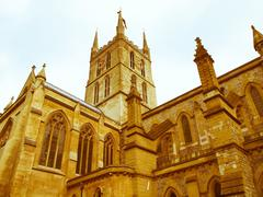 Retro looking Southwark Cathedral, London - stock photo