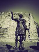 Vintage sepia Emperor Trajan Statue Stock Photos