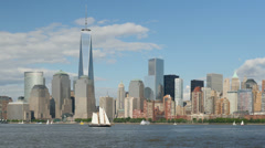 Freedom Tower and Lower Manhattan Skyline 6 Stock Footage