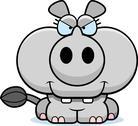 Cartoon devious rhinoceros Stock Illustration
