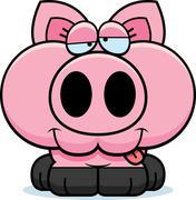 cartoon goofy pig - stock illustration