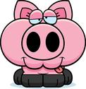 Stock Illustration of cartoon goofy pig