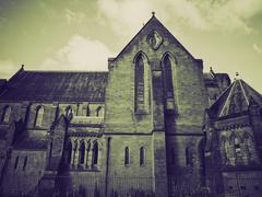 Vintage sepia Barony Parish Glasgow - stock photo
