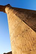 part of colonnade in luxor temple - stock photo