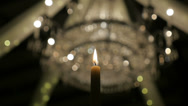 Stock Video Footage of Event Candle and Soft Focus Chandelier Lighting HD