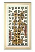 old chinese style green cement window with golden cement art isolated on whit - stock photo