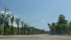 A road with beautiful landscape at a residential area in Chiang Mai, Thailand Stock Footage