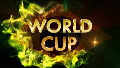 WORLD CUP 3D Gold Text and Brazil Flag, with Final White Transition Stock Footage