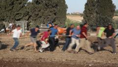 Celebrating agricultural holiday Shavuot in Sde Yaakov, Israel Stock Footage