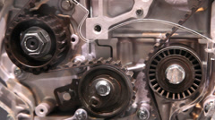 Timing belt of an engine Stock Footage