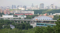 Moscow, view of the Luzhnetsky metro bridge Stock Footage