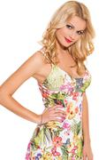 vogue. beautiful blonde in cute dress - stock photo