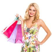 vogue. beautiful blonde in cute dress - stock photo