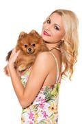 vogue. beautiful blonde with dog - stock photo