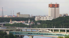 Moscow, view of the Luzhnetsky metro bridge and Academy of Sciences of Russia Stock Footage