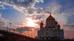 Sunset against the Cathedral of Christ the Saviour, Moscow, Russia Stock Footage