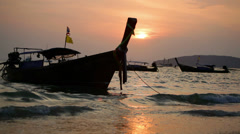 View on a traditional long tailed boats Stock Footage