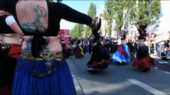 Street Life open air street festival Belly dancing Munich Germany Europe Stock Footage