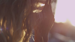 Girl Playing with Hair Stock Footage