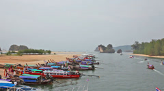 Boats in the gulf in tourist port, the province Krabi, Thailand Stock Footage