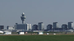 SCHIPHOL - Highway A5, skyline Airport and Plane Royal Air Maroc on runway Stock Footage